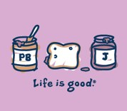 "Life is Good ""Peanut Butter & Jelly"" (PBJ) Short Sleeve Tee (Raspberry)"