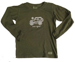 "Life is Good ® Youth/Kid's ""Native Jeep"" Long Sleeve Tee (Dark Green)"