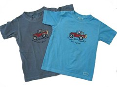 "Life is Good ""Offroad Jeep"" Kid's Short Sleeve Tee - Shadow Blue"