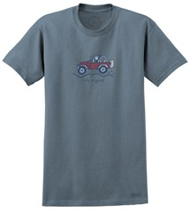 "CLOSEOUT (MD Only) - Life is Good ""Jake Wave"" Jeep Short Sleeve T-Shirt (Blue/Men's)"
