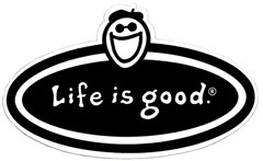 Life is good Black and White Oval Decal with Jake