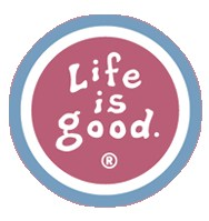 "Life is Good Coin Sticker (4"" Round, Barn Red)"