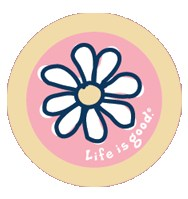 "Life is Good Daisy Sticker (4"" Round)"