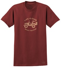 "Life is good ""Stamped Off Road"" Short Sleeve T-Shirt (Antique Red)"