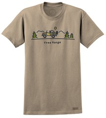 "Life is good ""Free Range"" Offroad Men's Brown Short Sleeved Shirt"