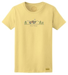 "Life is good ""Free Range"" Women's Sunny Yellow Short Sleeved Shirt"