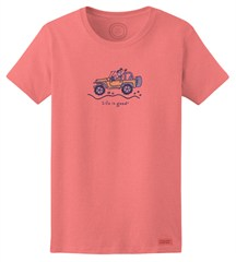 "CLOSEOUT (SM Only) - Life is Good ""Jackie Wave"" Women's Short Sleeve Shirt in Fresh Pink"