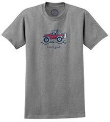"CLOSEOUT - Life is Good ""Jake Offroad"" Short Sleeve T-Shirt (Heather Gray)"