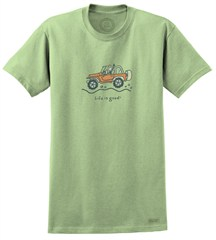 CLOSEOUT Life is Good Jake Wave Men's Tee Sprout Green