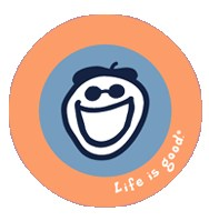 "Life is good Jakes Face Sticker (4"" Round), Orange/Blue"