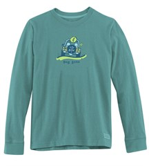CLOSEOUT - Life is Good Men's Dog Gone Beach Long Sleeve Shirt (Turquoise Blue)