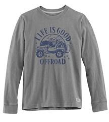 "Life is Good ""Off Road"" Men's Long Sleeve Tee on Heather Grey"