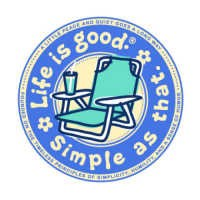"Life is good Round 4"" Sticker - Beach Chair"