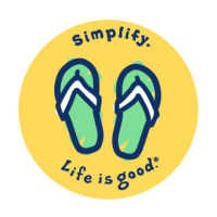 "Life is good Round 4"" Sticker - Flip Flops"