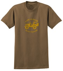 "CLOSEOUT - Life is Good ""Stamped Off Road"" Men's Tee on Dark Brown"