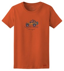 "Life is good Womens ""Jackie Offroad"" Short Sleeve T-Shirt (Chili Red)"