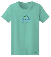 "CLOSEOUT (Medium only) - Life is Good Women's Shirt ""Cruisin' Rocket"" in Aqua Blue"