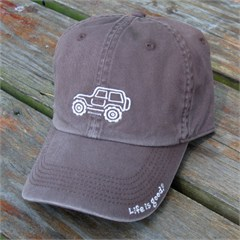 "Life is good Chill Cap - White Ride on ""Chocolate Brown"" Hat"