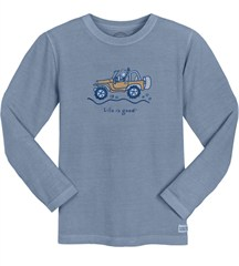 "Life is Good Men's ""Jake Offroad"" Long Sleeve Shirt in Shadow Blue"