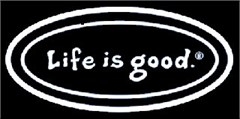 "Life Is good 12"" Window ""Cling"" Decal - Clear with White Lettering"