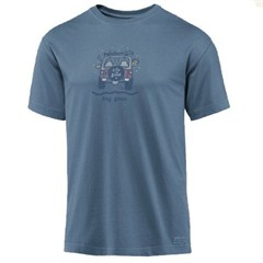"Life Is good ""Dog Gone Skiing"" Short Sleeve Shirt in Shadow Blue"