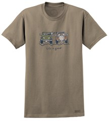 "CLOSEOUT (MD) - Life is Good ""Offroad Wave"" Short Sleeve Shirt in Brown"