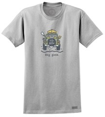"Life is good ""Dog Gone Canoe"" Men's Short Sleeve Jeep Tee (Light Gray)"