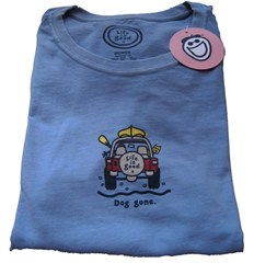 Life is good Dog Gone / Jeep / Canoe Women's T-shirt, Blue