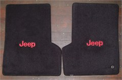 all things jeep lloyd custom jeep floor mats 2 front mats with jeep logo embroidery for 2007. Black Bedroom Furniture Sets. Home Design Ideas