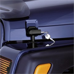 Black Locking Hood Catch Kit by Rugged Ridge for Jeep Wrangler TJ and LJ (1997-2006)