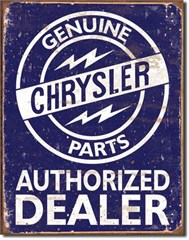 Genuine Chrysler Parts Authorized Dealer Blue/White Sign