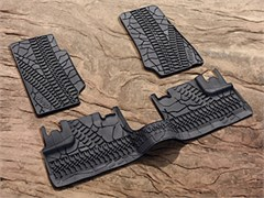 MOPAR�  Jeep Front/Rear Slush Mats for 4 door 2007-2013, Dark Gray, Cool Mud & Tire Tread Pattern with Jeep logo.