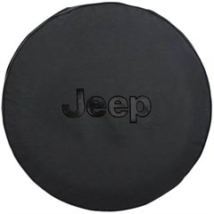 Black Tire Cover with Jeep Logo in Black, 29 Inch x 9 Inch