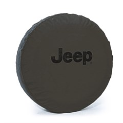 Khaki Denim Tire Cover with Jeep Logo in Black, 32 Inch x 10""
