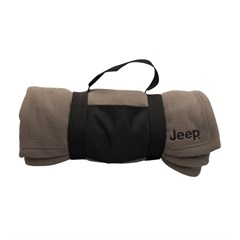 Jeep Embroidered Fleece Blanket w/ Carrying Strap, Brown