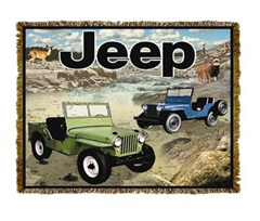 "Jeep Blanket called ""Jeep Adventure""  with 2 Jeeps"