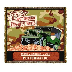 "Jeep Willys Army Throw Blanket ""Just enough essential parts"""