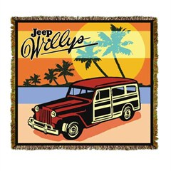 Jeep Willys Wood Paneled Wagon Throw Blanket