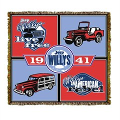 "Jeep Willys ""Live Free"" Throw Blanket (Four panels)"