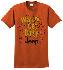 """Wanna Get Dirty"" Jeep Men's Short Sleeve Shirt in Texas Orange"