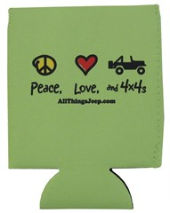 """Peace, Love, and 4x4s"" Neoprene Koozie by All Things Jeep - Set of 2"
