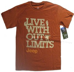 Jeep-Live Without Limits Men's Tee, Burnt Orange Men's Jeep Shirt