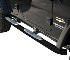 Rampage Body Side Guards w/step-Jeep JK 4Door, Black Powder Coat