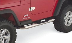 Rampage Side Guards w/Step-Jeep Wrangler YJ, TJ-Stainless Steel