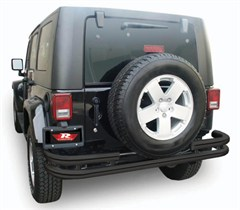 Black Double Tube Rear Bumper for 2 or 4 Door Jeep Wrangler JK (2007-2014)