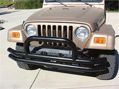 Rampage Products Double Tube Bumper, Front with Hoop, Black, 76-06 Jeep CJ & Wrangler (supercedes 7620)