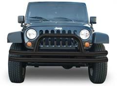 Rampage Products Double Tube Bumper, Front with Hoop, Black, Jeep JK, (2007-2014)