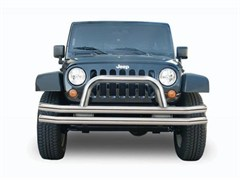 Rampage Products Double Tube Bumper, Front with Hoop, Stainless Steel, Jeep JK, 07-14