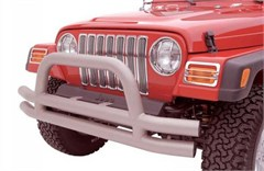 Front Stainless Double Tube Bumper w/Hoop - Jeep CJ, YJ, TJ, LJ