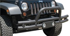 Rampage Front Double Tube Bumper w/Light Pod & Stinger - Jeep JK